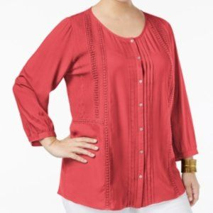JM Collection  Embroidered Pintucked Shirt